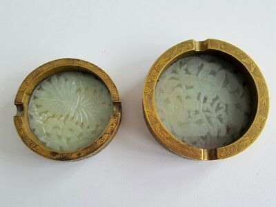 2 Vintage Reticulated Carved Jadeite and Engraved Brass Ash Trays China- Antique