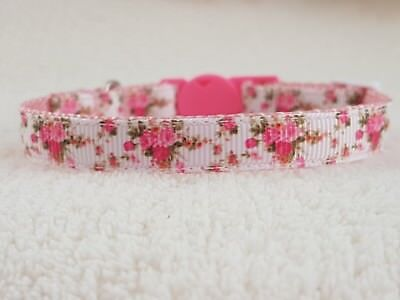 Cutie Pie Pink Floral Cat,Kitten Collar And Bell.Safety Breakaway Buckle.2 Sizes