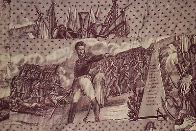 "Toile de Nantes purple antique textile "" L'Elite des Braves Military scenes 1825"