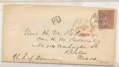 Switzerland Cover with Zumstein #43 1872 used to US Lovely