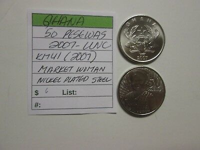 Single coin from GHANA, 50 pesewas, 2007 unc, Km 41 (2007), Market Woman
