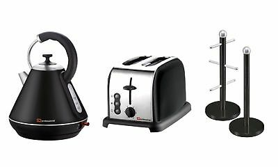 Set of: Kettle, Toaster and Mug Tree & Kitchen Roll Holder Stand Set in 9 colour