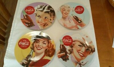 "Lot of 4 Coca Cola Coke Vintage Style Ladies Ceramic 10 1/2"" Dinner Plate`s"