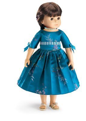 "Doll Clothes 18"" Dress Royal Blue Satin Cherry Blossom Carpatina Fits AG Doll"