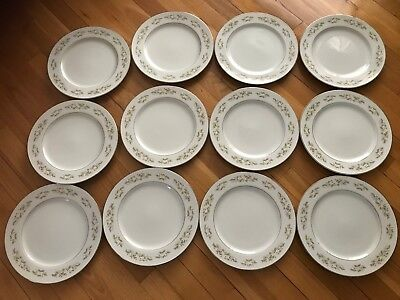 Vintage International Silver Co. Fine China 326 Springtime (12) Dinner Plates