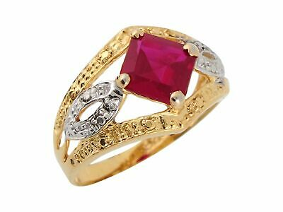 10k or 14k Two Tone Gold Simulated Ruby Antique Style Beautiful Ladies Ring