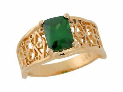 10k or 14k Yellow Gold Rectangle Simulated Emerald Ladies Fancy Filigree Ring