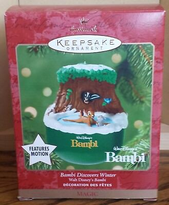 "Hallmark ""Bambi Discovers Winter"" Ornament Features Motion 2001 MIB NRFB"