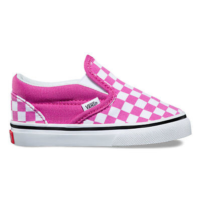 VANS Toddlers Checkerboard Slip-On RASPBERRY ROSE/TRUE WHITE  Free Shipping