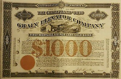 Collis P Huntington signed C&O Grain Elevator Gold Bond- 1882