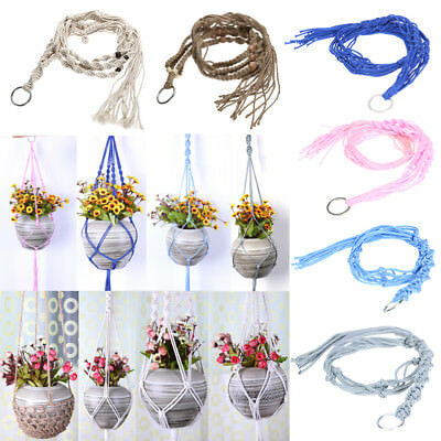 Vintage Macrame Plant Hanger Garden Flower Pot Holder Hanging Rope Baskets Decor
