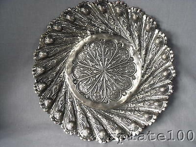 """10 """" Dia Persian Silver Plate Hand Chased Tray $9.99"""