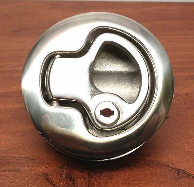"""2"""" Boat 316 Stainless Steel Lift Handle Flush Pull Locker Hatch Latch with Key"""