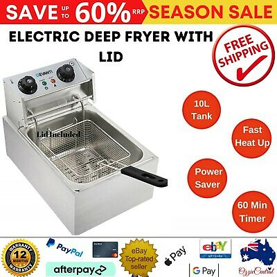 10L Commercial Steel Benchtop Electric Deep Fryer with Single Oil Basket 15amp