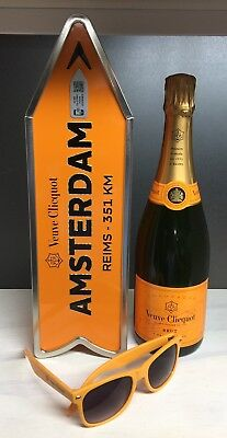 Veuve Clicquot Champagne Destination Arrow Tin Box AMSTERDAM Journey Street Sign