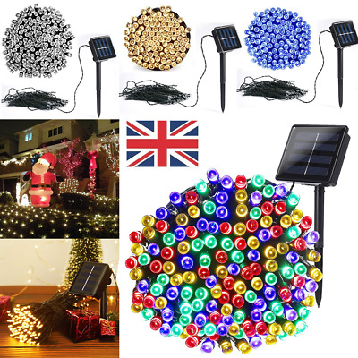 100 200 LED Solar Powered Fairy String Lights Garden Outdoor Party Wedding Lamps