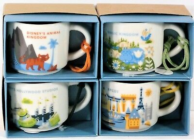 Disney Magic & Animal Kingdom Epcot Hollywood Starbucks 4 Mug 2 oz Ornament SET