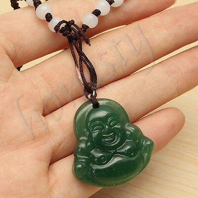 China Green Jade Jadeite Buddha Buddhist goddess Amulet Pendant Necklace