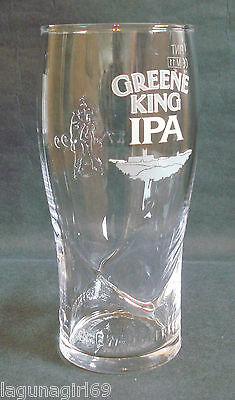 Greene King IPA Beer Brewing Perfection Embossed Pint Glass Pub Home Bar