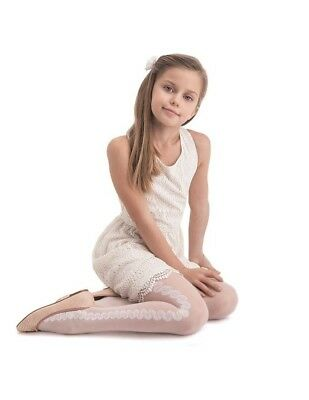 Girls White Patterned Tights 20 Denier Bridesmaid Holy Communion - Knittex Fabia