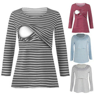 AU Women Striped Loose Nursing Blouse Breastfeeding Shirt Pregnant Top Maternity