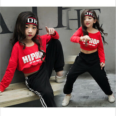 bbc1d855cf42 GIRLS RED SEQUIN Hip Hop Dance Costumes Ballroom Modern Jazz ...