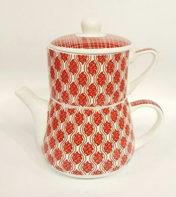 "Tea for une "" Nippon "" porcelaine motif cachemire / Lignes Rouge"