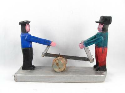 Quebec Primitive Folk Art Wood Carving 2 Men Cutting Wood Signed Emile Bluteau