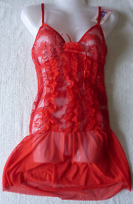 Nuisette femme rouge string lingerie nuit sexy combinette taille unique neuf