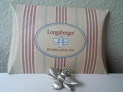 """Longaberger Bumble Bee Pin Pewter 1 1/4"""" Across x 1"""" H New In Original Package"""