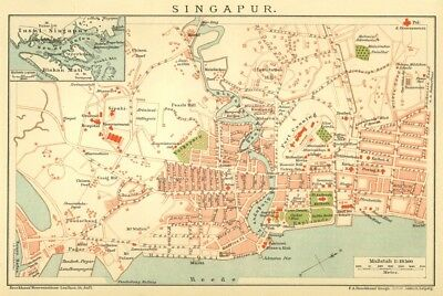 Singapore, Singapour, City Map from 1895, original lithographed map
