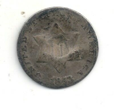1853 Three ( 3 ) Cent Silver one coin