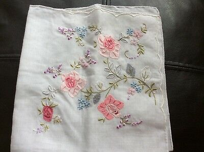 Antique fine linen handkerchief with hand embroidered pink, grey, blue, white, p