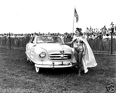 1950 Rambler Convertible Miss Marilyn Rich Helicopter Girl 8 x 10 Photograph