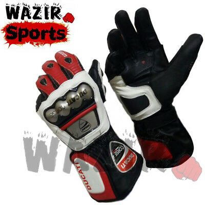 Ducati Corse Motorbike Racing Leather Gloves Metal Protection Motorcycle Gloves