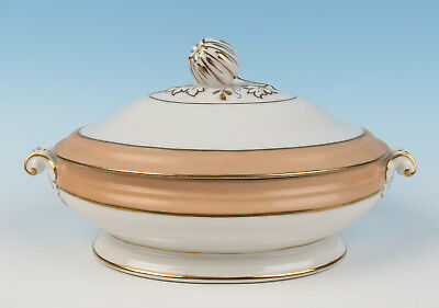 "Antique Paris Porcelain Peach & Gold Band 11.5"" TUREEN Serving Bowl Old French"