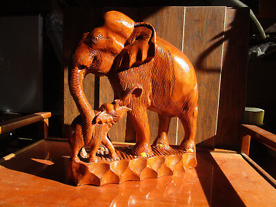 "Rare Antique vintage Solid Teak? Wood Hand Carved Elephant & Baby 15 ""  Huge"