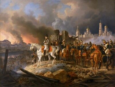 Napoleon in Burning Moscow Painting by Adam Albrecht Art Reproduction