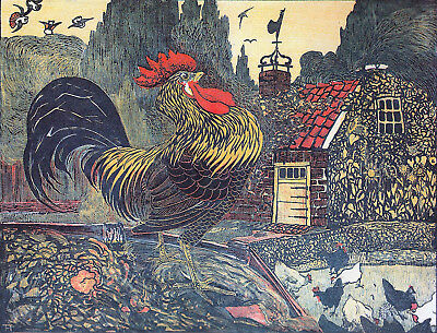 Postcard: Vintage print repro - Rooster in Farmyard - Fairytale - 1900s