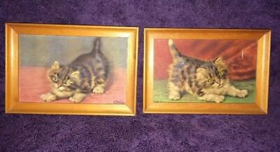 Set Of 2 Vintage Kittens Cats by Atlas Embossed Picture Co. Framed- D. MERLIN