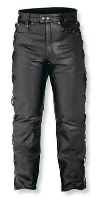 Mens Motorcycle Motorbike Biker Leather Trousers Jeans Laces Cruiser Black 42