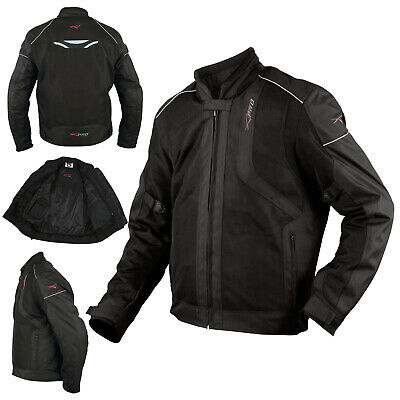 Motorcycle Breathable Textile Motorbike Jacket Armour CE Summer Black XL