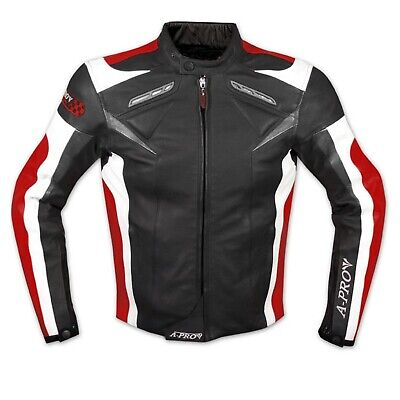Leather Jacket Motorcycle Racing Motorbike Sport CE Armored A-Pro Red