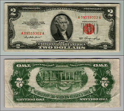 1953 $2 Dollar Bill Old Us Note Legal Tender Paper Money Currency Red Seal P674