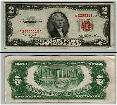 1953 $2 Dollar Bill Old Us Note Legal Tender Paper Money Currency Red Seal P124