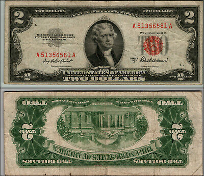 1953A $2 Dollar Bill Old Us Note Legal Tender Paper Money Currency Red Seal P15