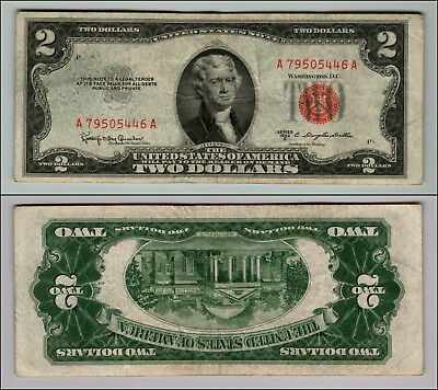 1953C $2 Dollar Bill Old Us Note Legal Tender Paper Money Currency Red Seal P152
