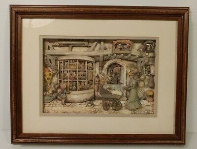 Antique Anton Pieck 3D Framed Toy Store Art Shadow Box