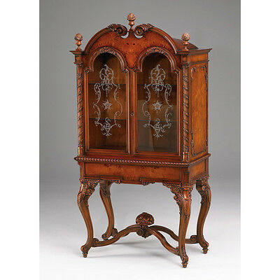 Camelot mahogany curio cabinet with burl veneer and etched glass doors