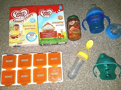 weaning bundle baby toddler food blw sippy cups bottle nuby cow gate pots spoon